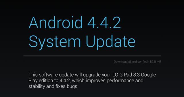 Bảng thông báo LG G Pad 8.3 GPE đã có thể tải về bản cập nhật android 4.4.2 KitKat