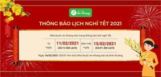 Lịch nghỉ Tết Nguyên Đán Tân Sửu 2021-Nhà thuốc An Khang