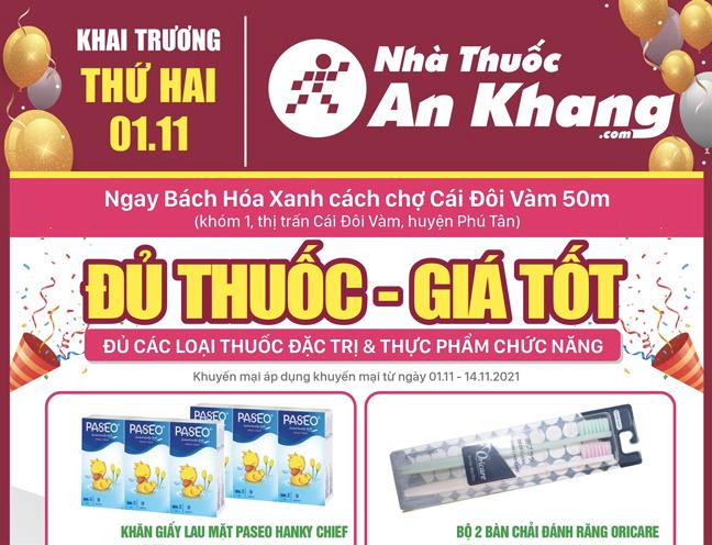 Nhà thuốc An Khang Thị trấn Cái Đôi Vàm khai trương ngày 01/11/2021