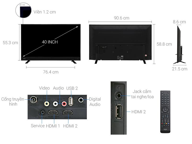 Thông số kỹ thuật Tivi Toshiba 40 inch 40L3750