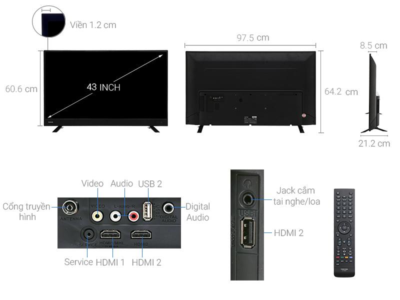 Thông số kỹ thuật Tivi Toshiba 43 inch 43L3750