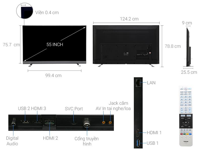 Thông số kỹ thuật Chrome cast Tivi Toshiba 55 inch 55U6750