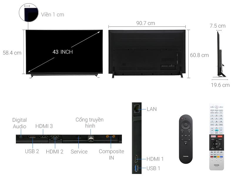 Thông số kỹ thuật Android Tivi Toshiba 43 inch 43U7750