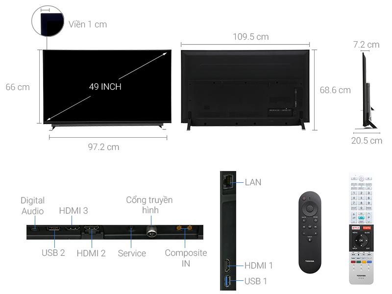 Thông số kỹ thuật Android Tivi Toshiba 49 inch 49U7750