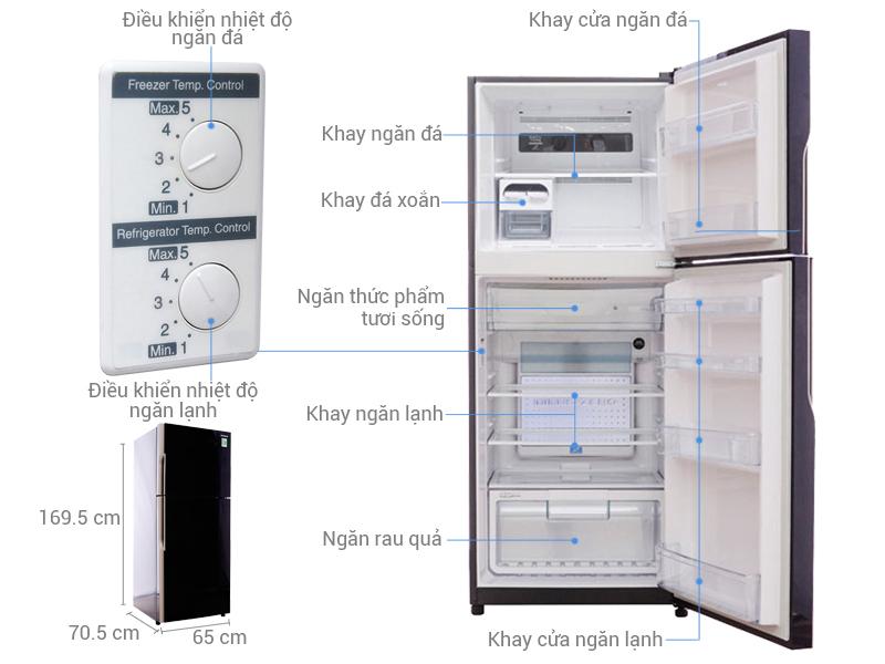 Thông số kỹ thuật Tủ lạnh Hitachi inverter 365 lít R-VG440PGV3 GBK