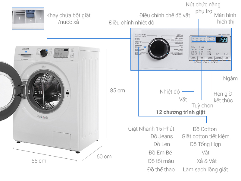 Thông số kỹ thuật Máy giặt Samsung inverter 8.0 kg WW80J4233GW/SV