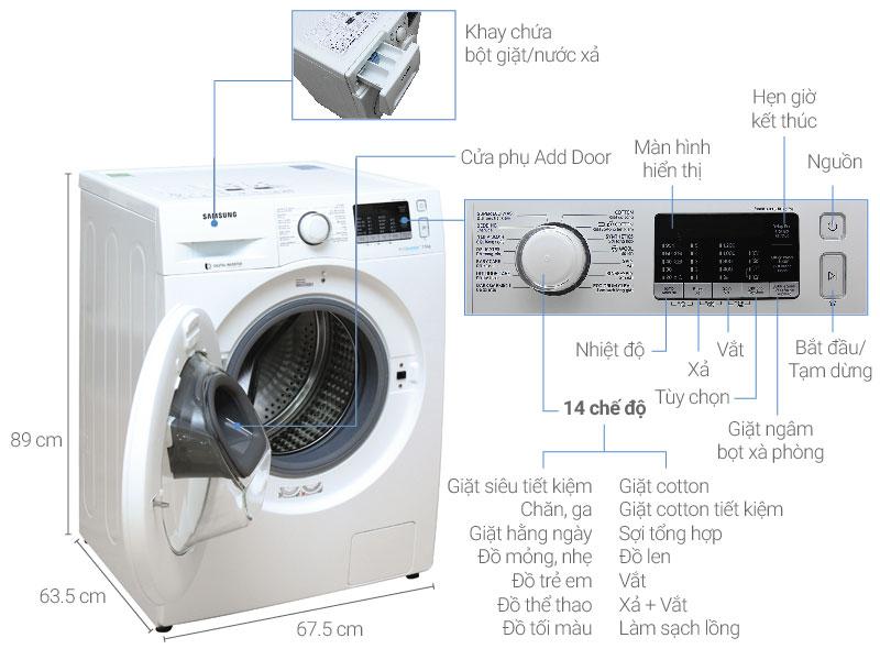Thông số kỹ thuật Máy giặt Samsung AddWash Inverter 7.5 kg WW75K5210YW/SV