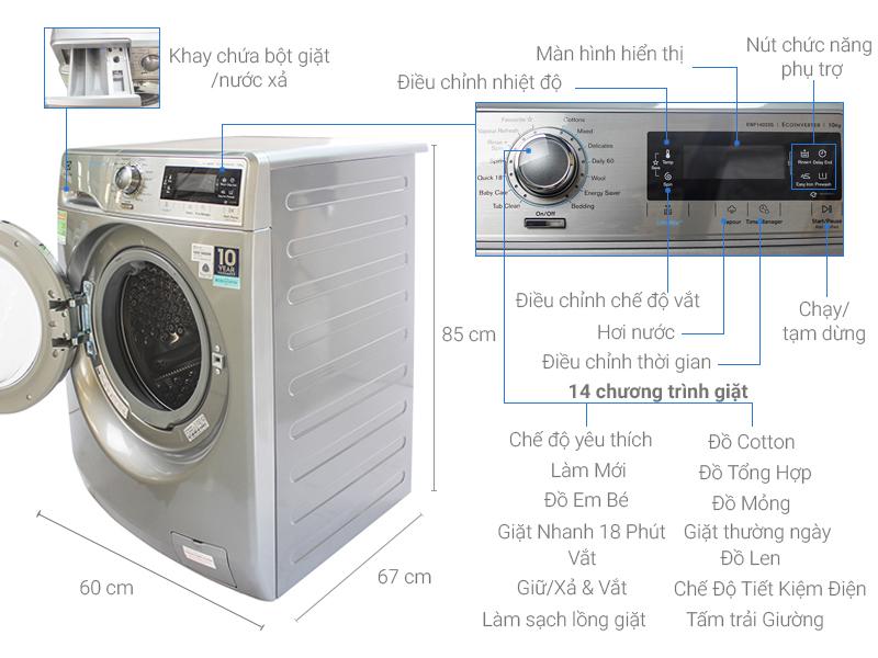 Thông số kỹ thuật Máy giặt Electrolux Inverter 10 kg EWF14023S
