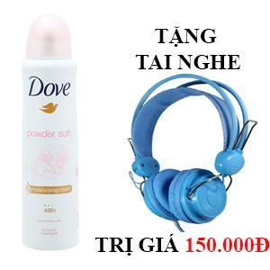 Xịt khử mùi dưỡng da Dove Powder Soft 150ml