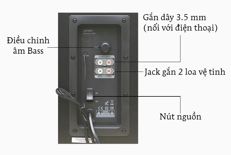 Loa Vi Tính Fenda A180X - Các nút điều khiển và cổng kết nối trên loa