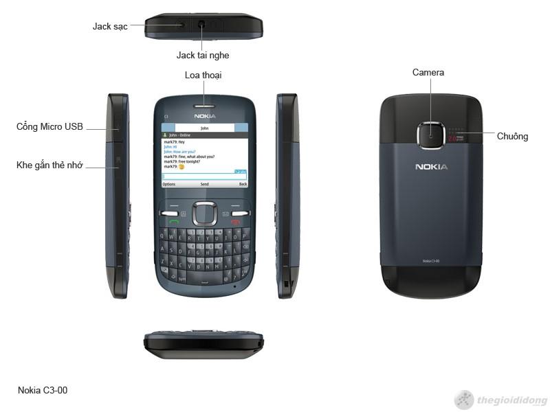 phím chức năng của Nokia C3-00
