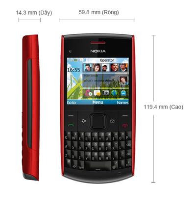 Kích thước của Nokia X2-01