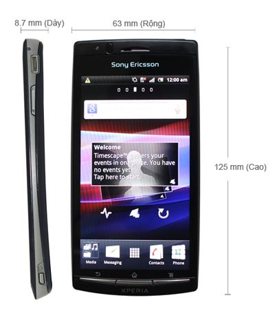 Kích thước Sony Ericsson XPERIA Arc LT15i