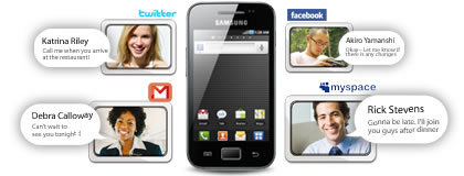 Galaxy Ace S5830 hỗ trợ Facebook, Twitter, Myspace