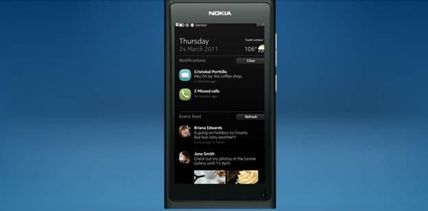 nokia n9 - màn hình tin nhắn và mạng xã hội