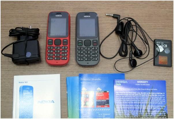 Trọn bộ phụ kiện nguyên hộp của Nokia 101