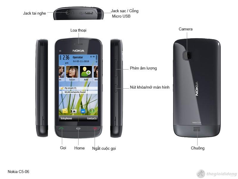 phím chức năng của Nokia C5-06
