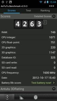 ZTE-U V970M đạt 4263 điểm với phần mềm Antutu Benchmark