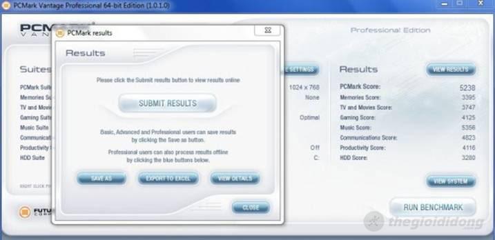 Điểm benchmark bằng phần mềm PCMark Vantage