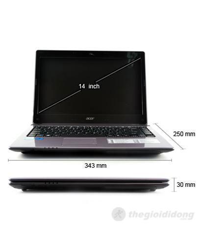 Kích thước Acer Aspire 4752