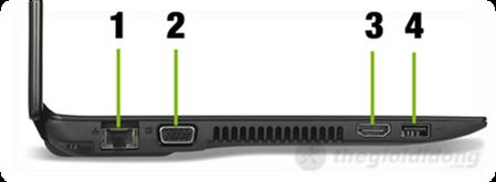 Mặt trái có cổng cắm cáp mạng RJ45