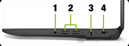 Acer Aspire One 756 đã tích hợp hai jack audio và micro