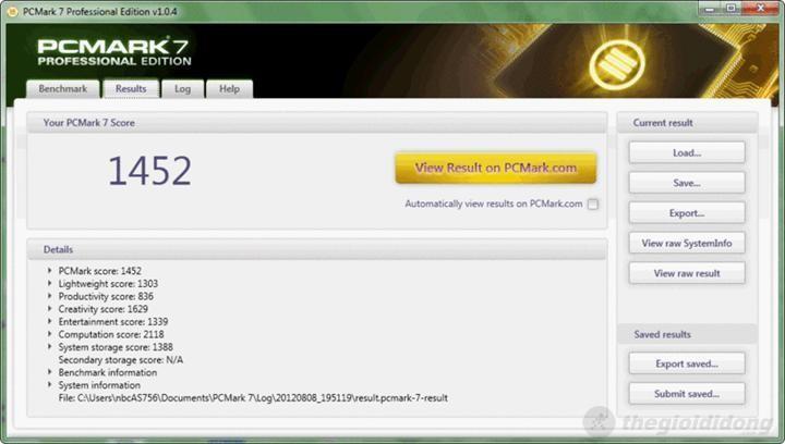 phần mềm chấm điểm PC Mark 7