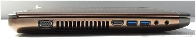 Cạnh trái Dell Vostro 3460 gồm các cổng: VGA, HDMI, 2 x USB 3.0, phone và microphone