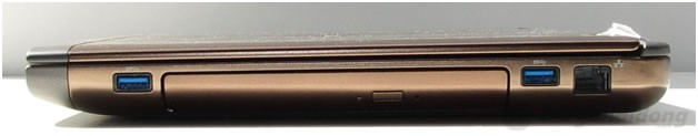 Cạnh phải Dell Vostro 3460 gồm ổ đĩa DVD, 2 x USB 3.0 và cổng mạng LAN