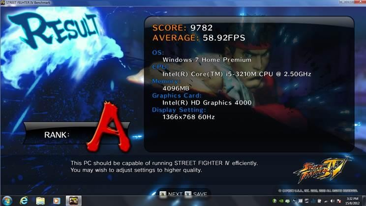 Thử nghiệm với game Street Fighter IV