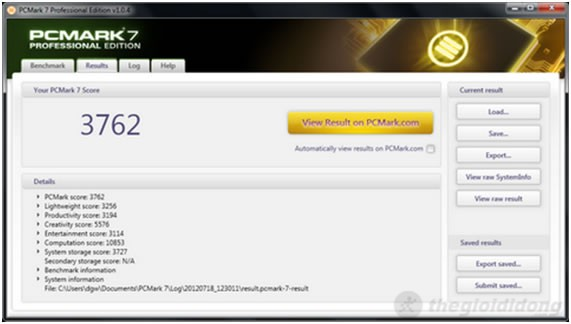 Inspiron 14z-5423 đạt 3.762 điểm trong đánh giá tổng thể hiệu năng hệ thống PCMark 7