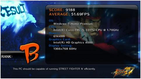 Khả năng giải trí của Dell Inspiron 5423 cũng được khẳng định qua game thử nghiệm Street Fighter IV
