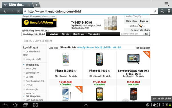 Lướt website thegioididong.com qua Galaxy Tab 2 10.1