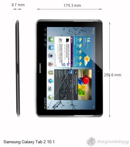 Kích thước Samsung Galaxy Tab 2 10.1