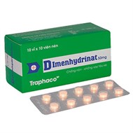 Thuốc chống nôn, say tàu xe Dimenhydrinat 50mg Trapharco 100 viên