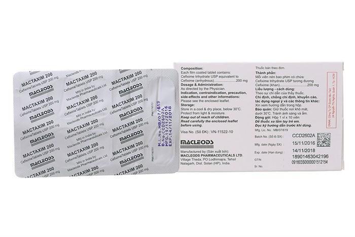 Thuốc kháng sinh Mactaxim 200mg công dụng và cách dùng