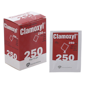 Thuốc kháng sinh Clamoxyl 250mg hộp 12 gói