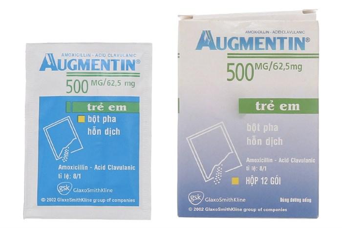 Thuốc kháng sinh Augmentin 500mg/62.5mg hộp 12 gói