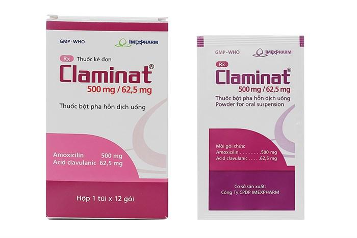 Thuốc kháng sinh Claminat 500mg/62.5mg hộp 12 gói