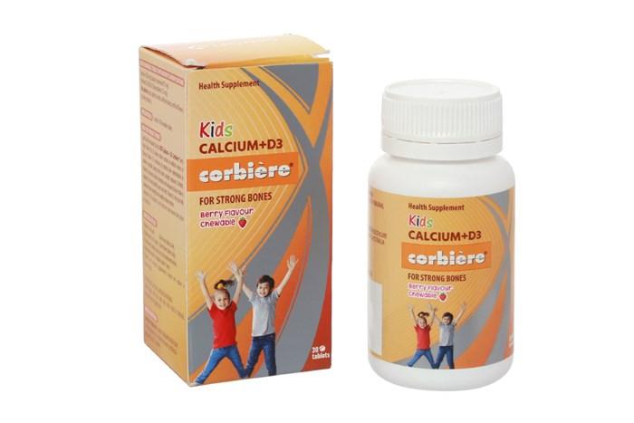 Viên nhai bổ sung canxi cho bé Kids Calcium D3 Corbiere 30 viên